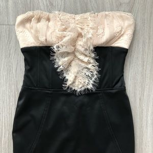 Bebe satin and lace strapless cocktail dress